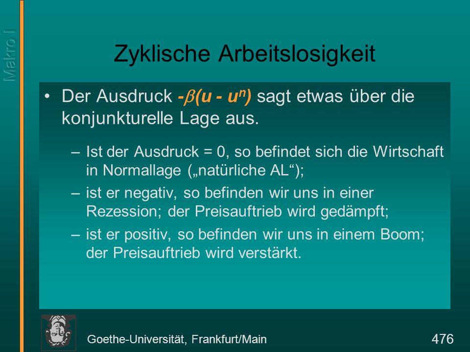 Goethe-Universität, Frankfurt/Main 476 Zyklische Arbeitslosigkeit Der Ausdruck - (u - u n ) sagt etwas über die konjunkturelle Lage aus. –Ist der Ausd