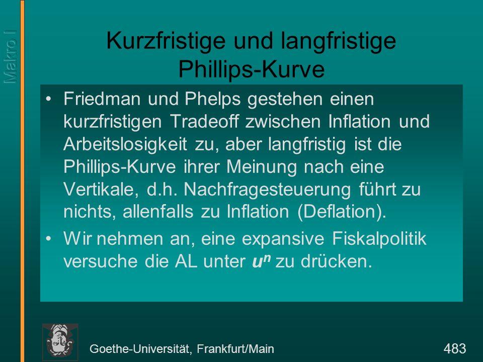 Goethe-Universität, Frankfurt/Main 483 Kurzfristige und langfristige Phillips-Kurve Friedman und Phelps gestehen einen kurzfristigen Tradeoff zwischen