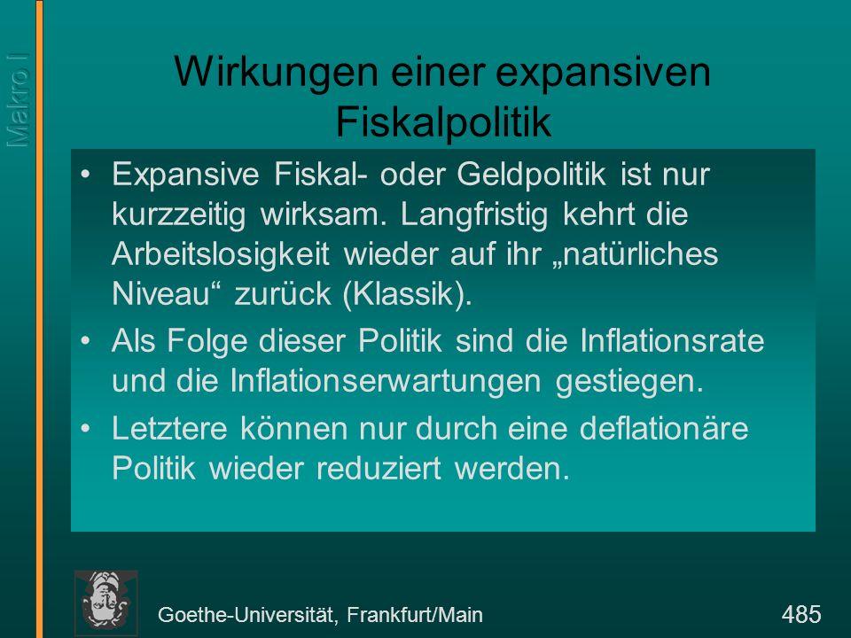 Goethe-Universität, Frankfurt/Main 485 Wirkungen einer expansiven Fiskalpolitik Expansive Fiskal- oder Geldpolitik ist nur kurzzeitig wirksam. Langfri