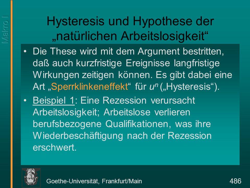 Goethe-Universität, Frankfurt/Main 486 Hysteresis und Hypothese der natürlichen Arbeitslosigkeit Die These wird mit dem Argument bestritten, daß auch