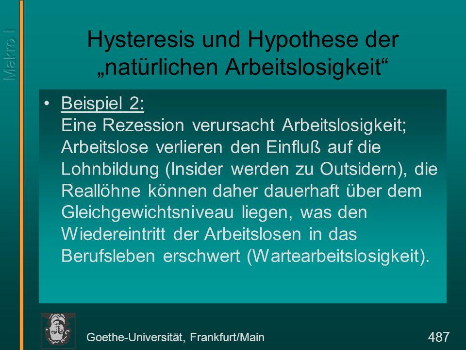 Goethe-Universität, Frankfurt/Main 487 Hysteresis und Hypothese der natürlichen Arbeitslosigkeit Beispiel 2: Eine Rezession verursacht Arbeitslosigkei