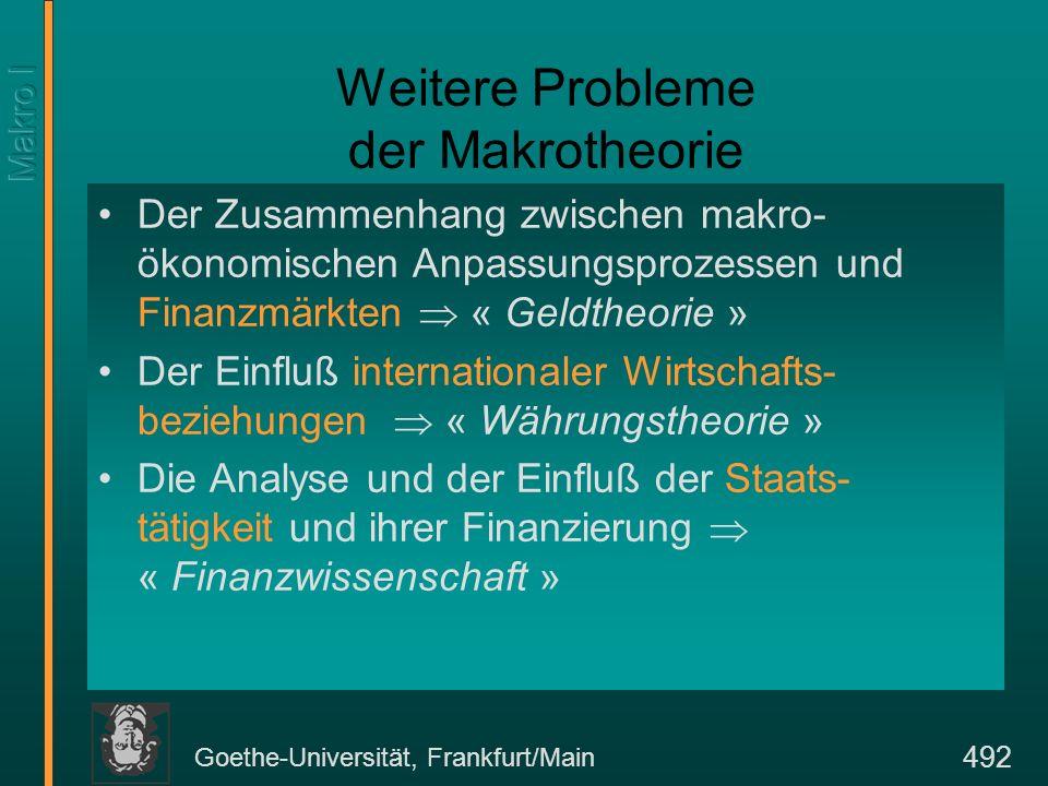Goethe-Universität, Frankfurt/Main 492 Weitere Probleme der Makrotheorie Der Zusammenhang zwischen makro- ökonomischen Anpassungsprozessen und Finanzm