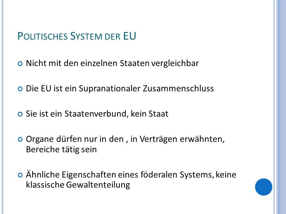 P OLITISCHES S YSTEM DER EU Nicht mit den einzelnen Staaten vergleichbar Die EU ist ein Supranationaler Zusammenschluss Sie ist ein Staatenverbund, ke