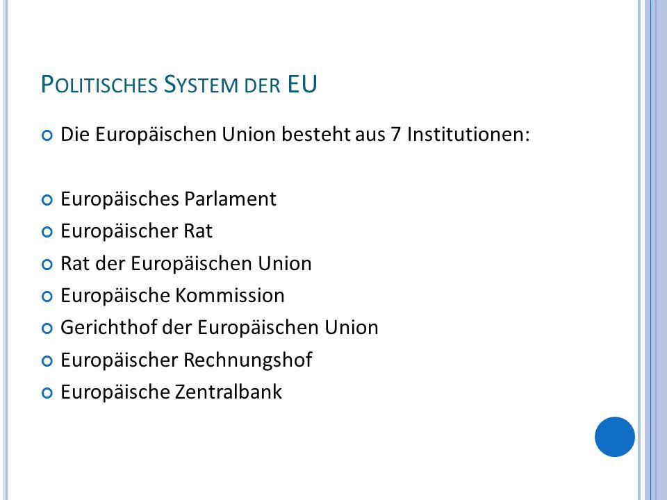 P OLITISCHES S YSTEM DER EU Die Europäischen Union besteht aus 7 Institutionen: Europäisches Parlament Europäischer Rat Rat der Europäischen Union Eur