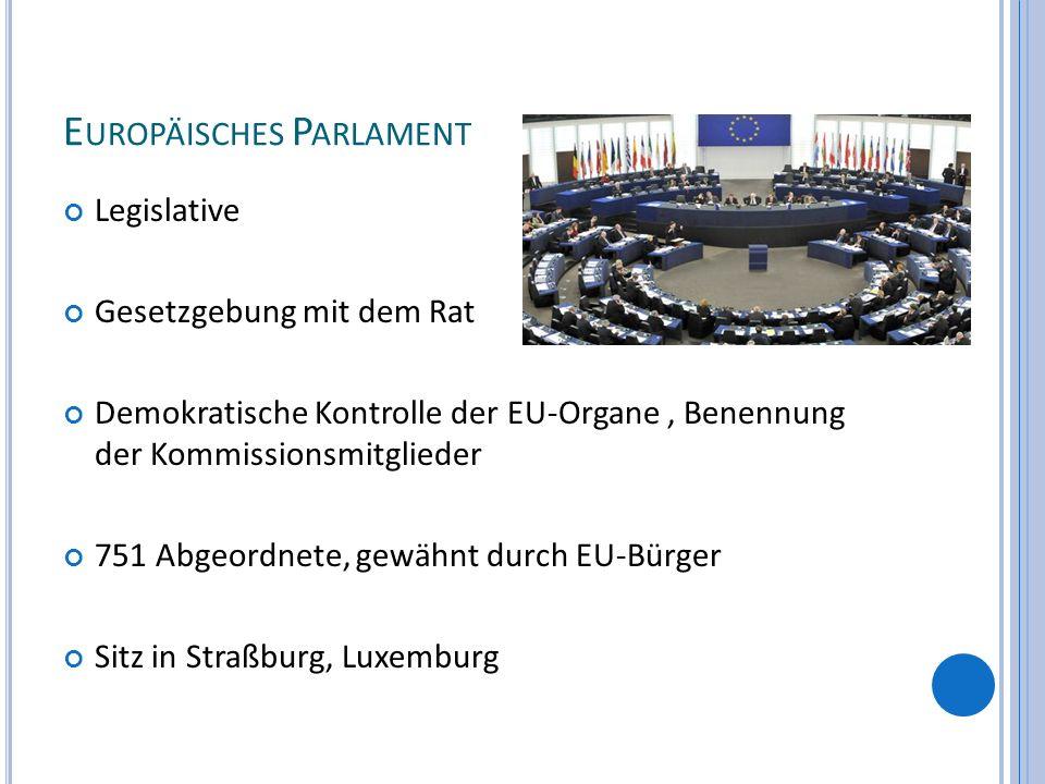E UROPÄISCHES P ARLAMENT Legislative Gesetzgebung mit dem Rat Demokratische Kontrolle der EU-Organe, Benennung der Kommissionsmitglieder 751 Abgeordne
