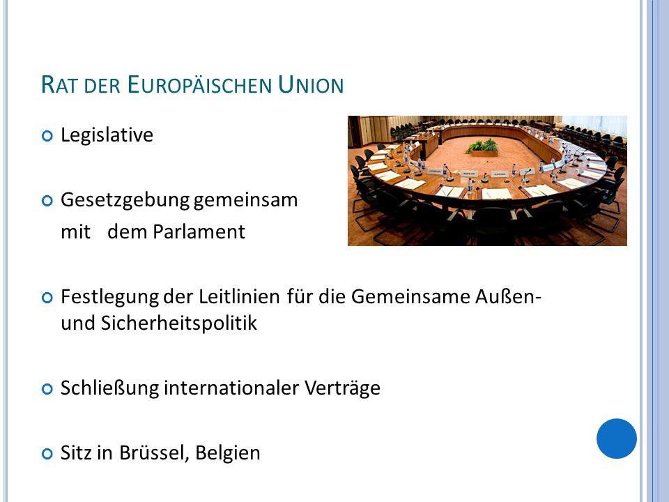 R AT DER E UROPÄISCHEN U NION Legislative Gesetzgebung gemeinsam mit dem Parlament Festlegung der Leitlinien für die Gemeinsame Außen- und Sicherheits