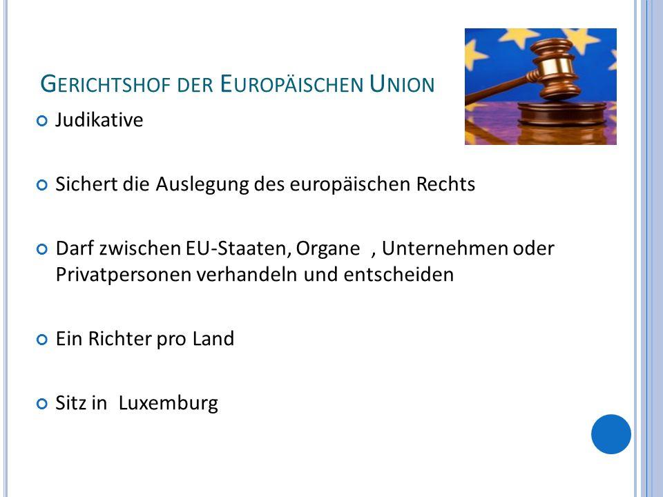 G ERICHTSHOF DER E UROPÄISCHEN U NION Judikative Sichert die Auslegung des europäischen Rechts Darf zwischen EU-Staaten, Organe, Unternehmen oder Priv