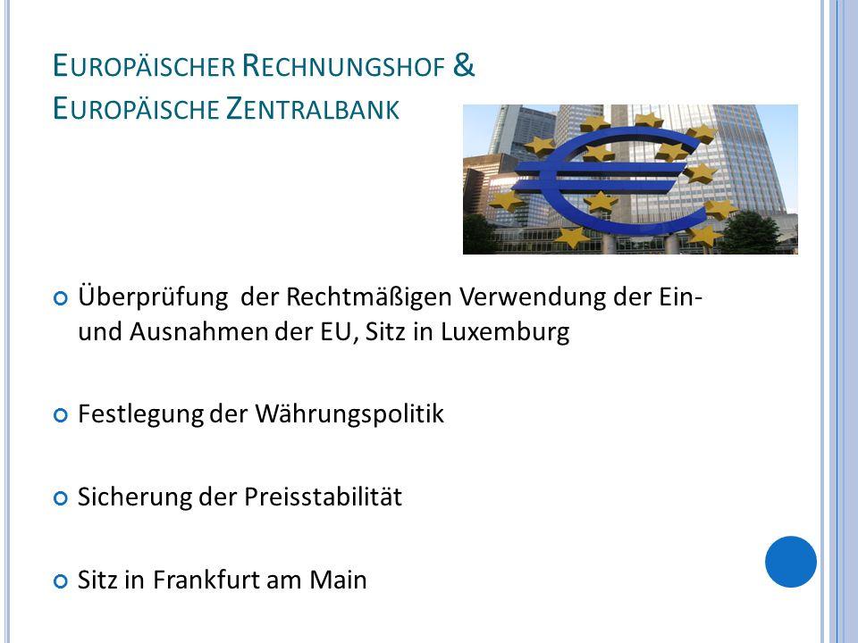 E UROPÄISCHER R ECHNUNGSHOF & E UROPÄISCHE Z ENTRALBANK Überprüfung der Rechtmäßigen Verwendung der Ein- und Ausnahmen der EU, Sitz in Luxemburg Festl