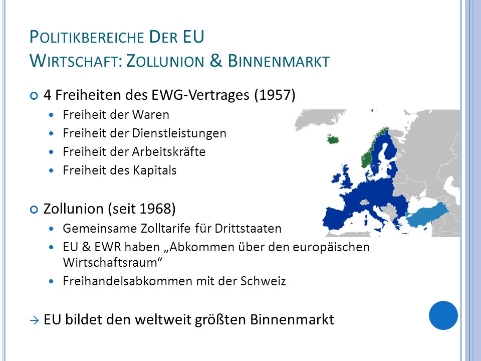 P OLITIKBEREICHE D ER EU W IRTSCHAFT : Z OLLUNION & B INNENMARKT 4 Freiheiten des EWG-Vertrages (1957) Freiheit der Waren Freiheit der Dienstleistunge