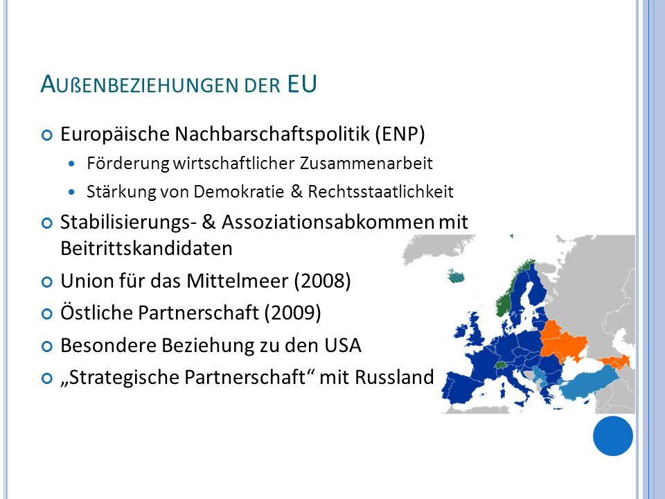 A UßENBEZIEHUNGEN DER EU Europäische Nachbarschaftspolitik (ENP) Förderung wirtschaftlicher Zusammenarbeit Stärkung von Demokratie & Rechtsstaatlichke
