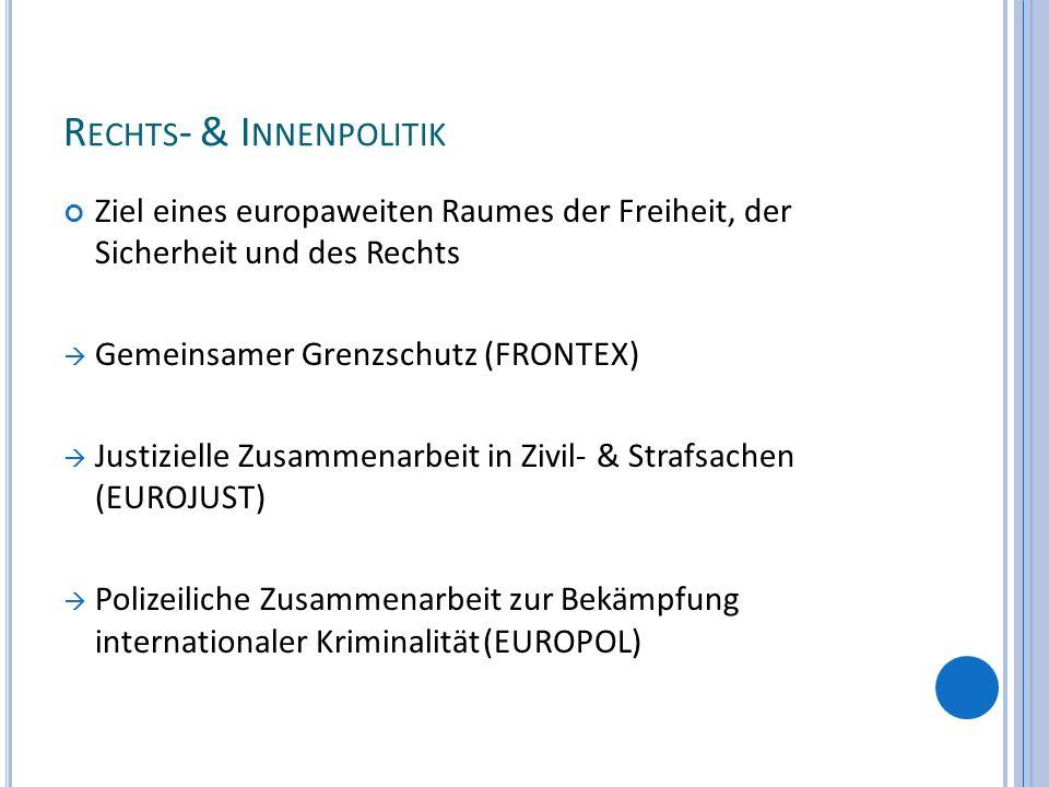 R ECHTS - & I NNENPOLITIK Ziel eines europaweiten Raumes der Freiheit, der Sicherheit und des Rechts Gemeinsamer Grenzschutz (FRONTEX) Justizielle Zus