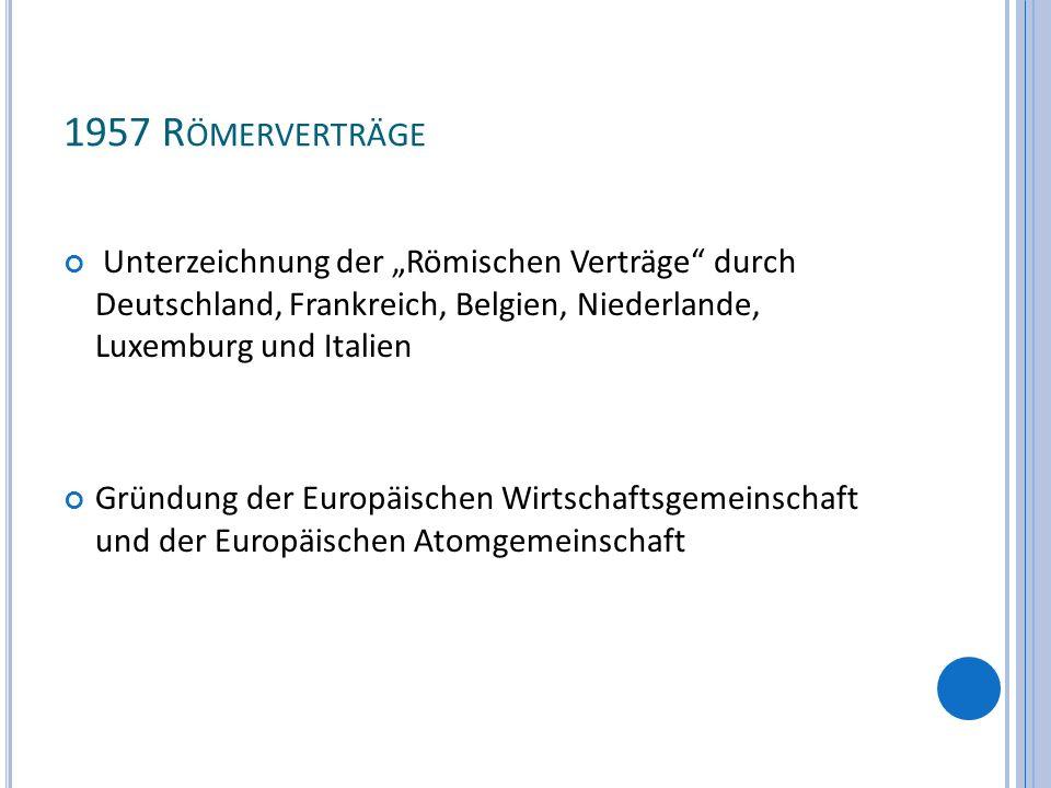 1957 R ÖMERVERTRÄGE Unterzeichnung der Römischen Verträge durch Deutschland, Frankreich, Belgien, Niederlande, Luxemburg und Italien Gründung der Euro