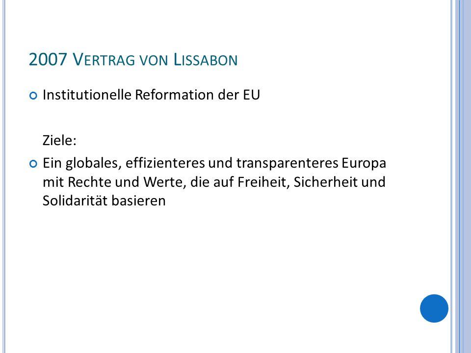 2007 V ERTRAG VON L ISSABON Institutionelle Reformation der EU Ziele: Ein globales, effizienteres und transparenteres Europa mit Rechte und Werte, die