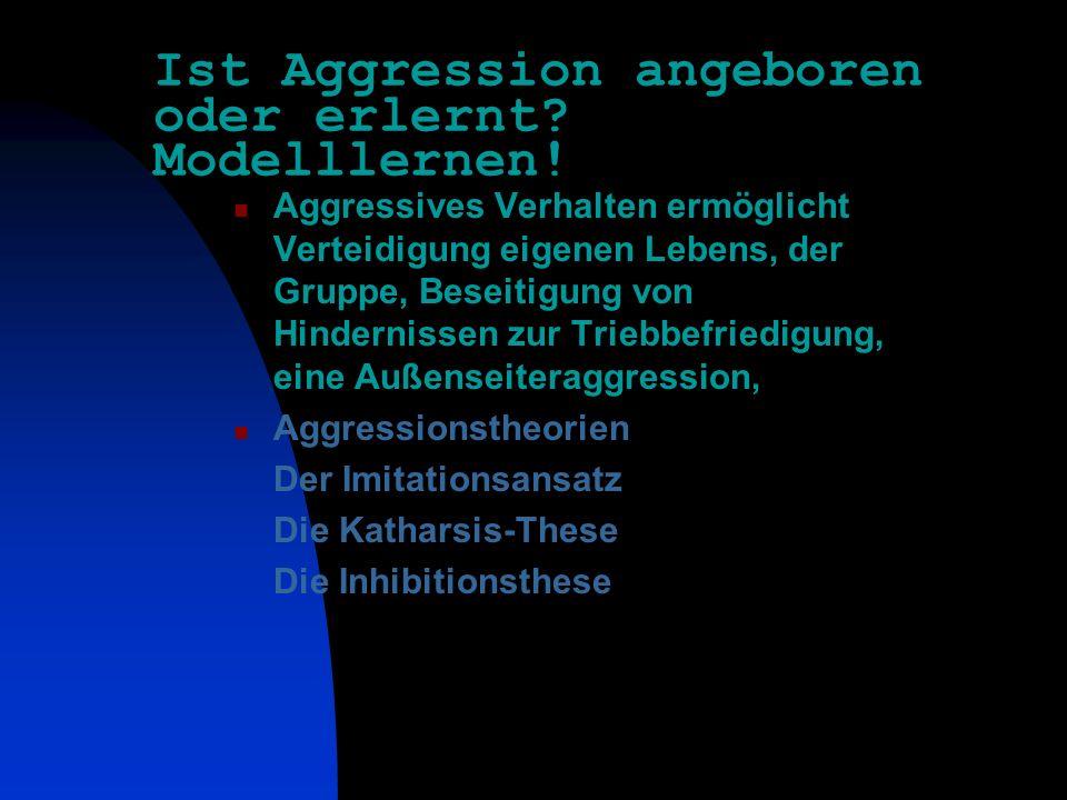 Hauptthemen Ist Aggression angeboren oder erlernt? Aggressionstheorien- Modell-Lernen als Erklärungsmodell Gewaltkriminalität