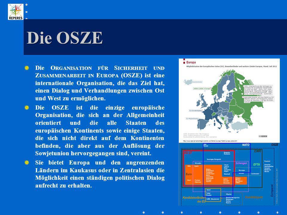 Die OSZE Die O RGANISATION FÜR S ICHERHEIT UND Z USAMMENARBEIT IN E UROPA (OSZE) ist eine internationale Organisation, die das Ziel hat, einen Dialog