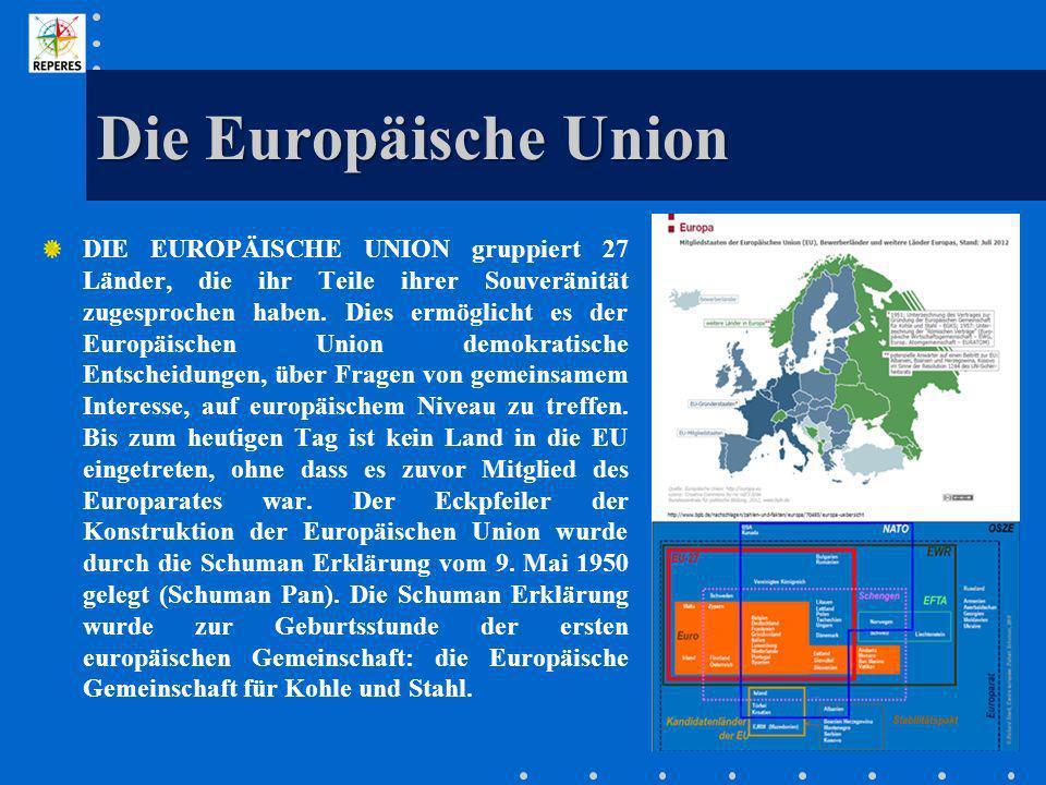 Die Europäische Union DIE EUROPÄISCHE UNION gruppiert 27 Länder, die ihr Teile ihrer Souveränität zugesprochen haben. Dies ermöglicht es der Europäisc