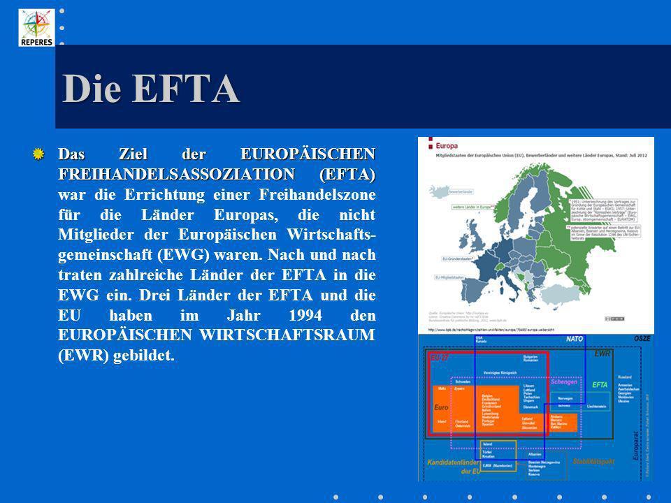 Die EFTA Das Ziel der EUROPÄISCHEN FREIHANDELSASSOZIATION (EFTA) Das Ziel der EUROPÄISCHEN FREIHANDELSASSOZIATION (EFTA) war die Errichtung einer Frei