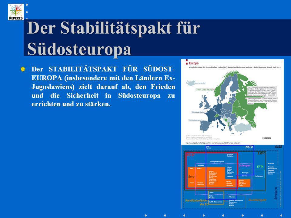 Der Stabilitätspakt für Südosteuropa Der STABILITÄTSPAKT FÜR SÜDOST- EUROPA (insbesondere mit den Ländern Ex- Jugoslawiens) zielt darauf ab, den Fried