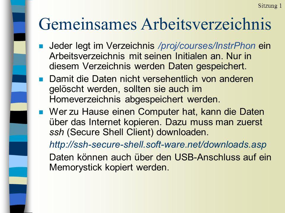 Gemeinsames Arbeitsverzeichnis n Jeder legt im Verzeichnis /proj/courses/InstrPhon ein Arbeitsverzeichnis mit seinen Initialen an.