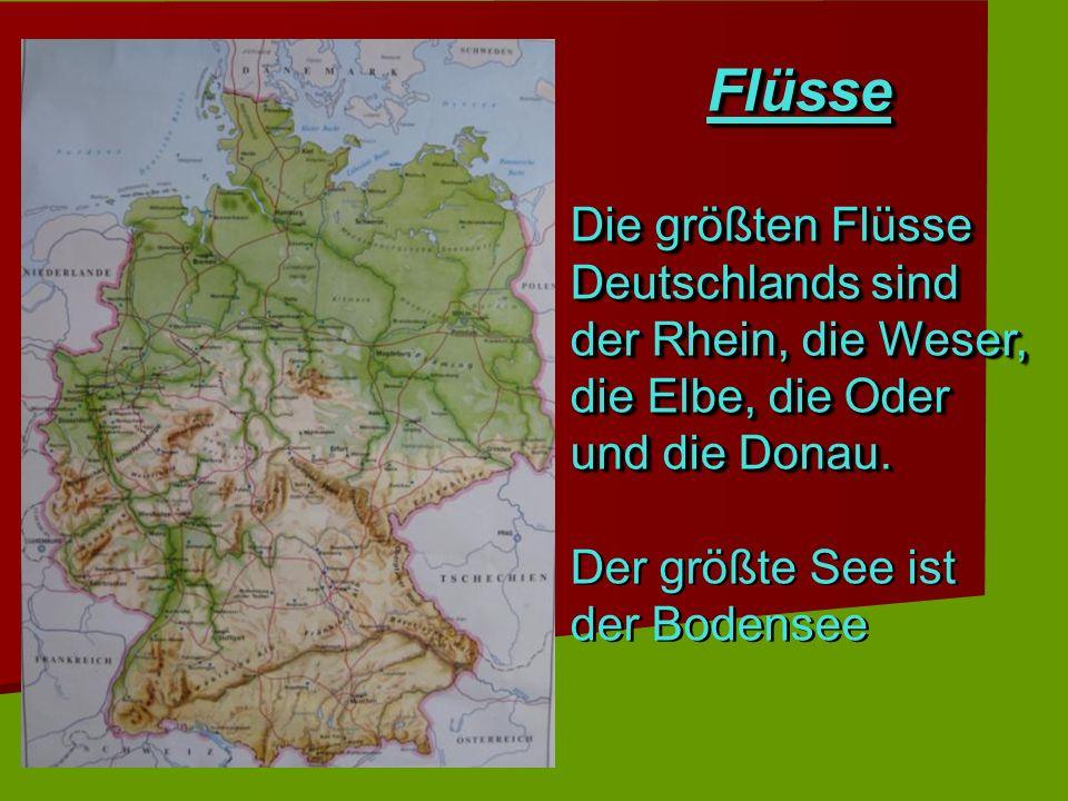 Flüsse Die größten Flüsse Deutschlands sind der Rhein, die Weser, die Elbe, die Oder und die Donau.