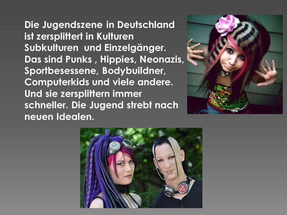 Die Jugendszene in Deutschland ist zersplittert in Kulturen Subkulturen und Einzelgänger.