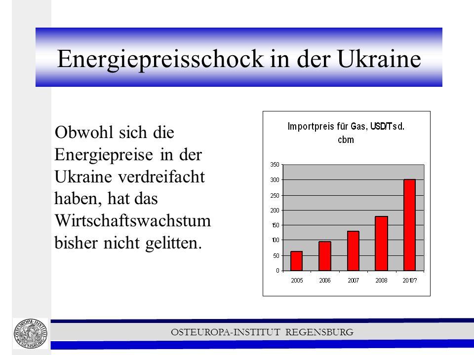 OSTEUROPA-INSTITUT REGENSBURG Energiepreisschock in der Ukraine Obwohl sich die Energiepreise in der Ukraine verdreifacht haben, hat das Wirtschaftswachstum bisher nicht gelitten.