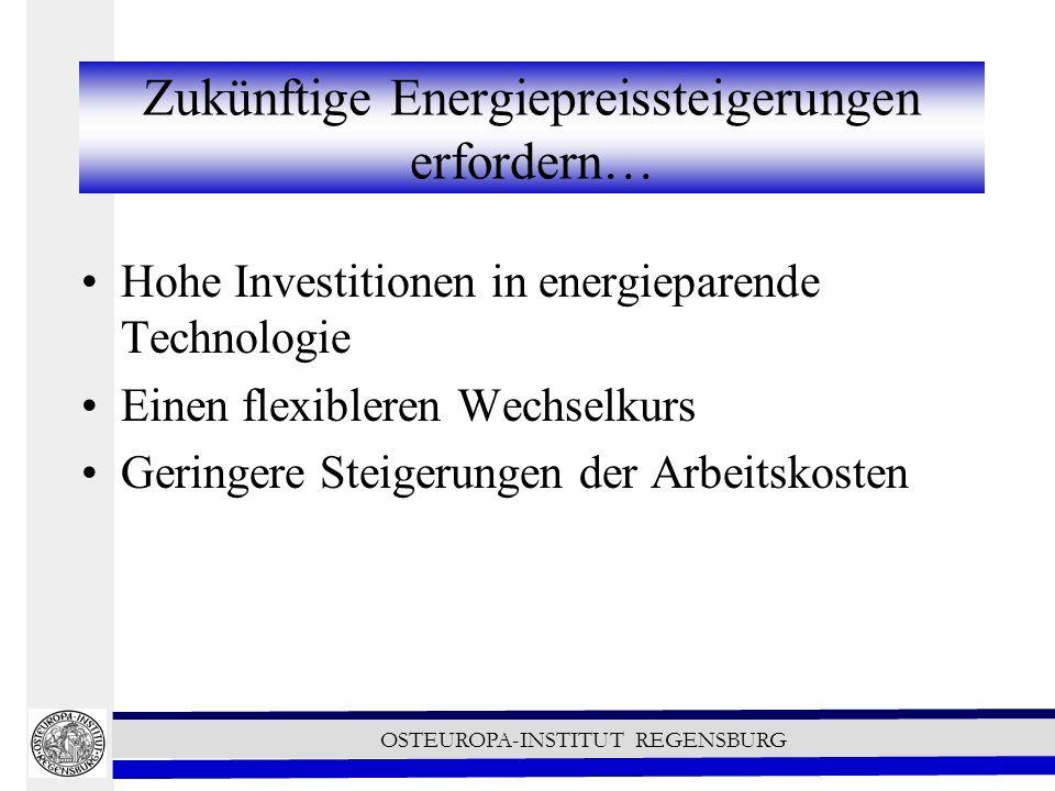 OSTEUROPA-INSTITUT REGENSBURG Zukünftige Energiepreissteigerungen erfordern… Hohe Investitionen in energieparende Technologie Einen flexibleren Wechselkurs Geringere Steigerungen der Arbeitskosten