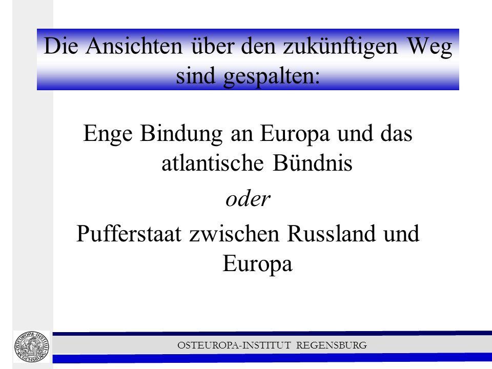 OSTEUROPA-INSTITUT REGENSBURG Die Ansichten über den zukünftigen Weg sind gespalten: Enge Bindung an Europa und das atlantische Bündnis oder Pufferstaat zwischen Russland und Europa