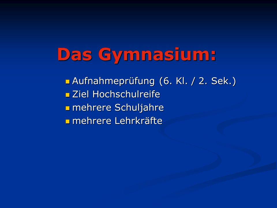 Das Gymnasium: Aufnahmeprüfung (6. Kl. / 2. Sek.) Aufnahmeprüfung (6.