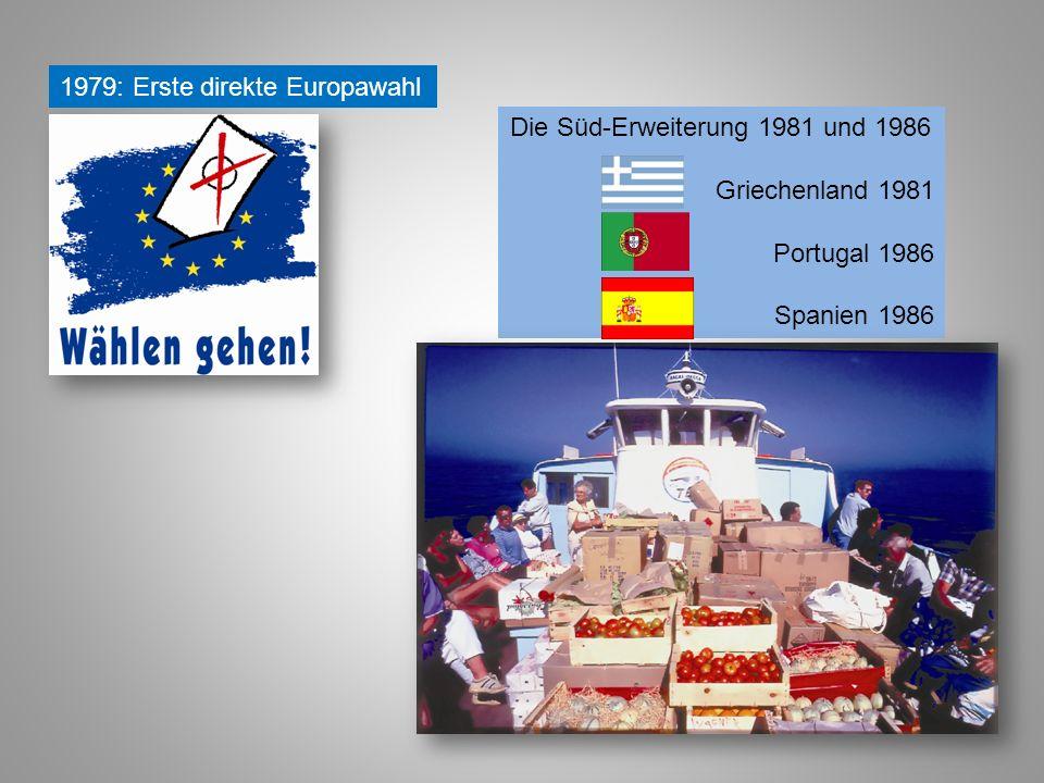 1979: Erste direkte Europawahl Die Süd-Erweiterung 1981 und 1986 Griechenland 1981 Portugal 1986 Spanien 1986
