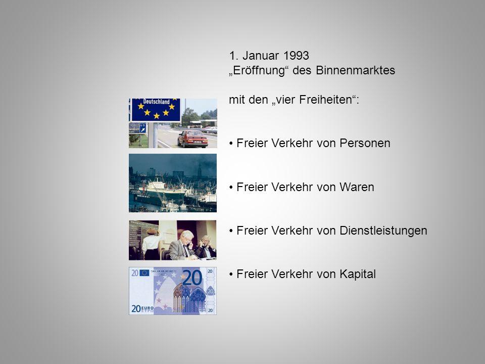 1. Januar 1993 Eröffnung des Binnenmarktes mit den vier Freiheiten: Freier Verkehr von Personen Freier Verkehr von Waren Freier Verkehr von Dienstleis