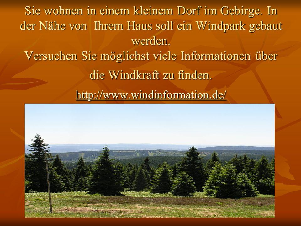 Sie wohnen in einem kleinem Dorf im Gebirge. In der Nähe von Ihrem Haus soll ein Windpark gebaut werden. Versuchen Sie möglichst viele Informationen ü