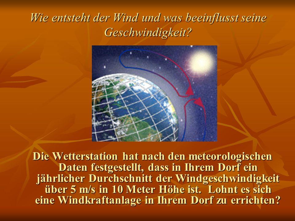 Wie entsteht der Wind und was beeinflusst seine Geschwindigkeit? Die Wetterstation hat nach den meteorologischen Daten festgestellt, dass in Ihrem Dor