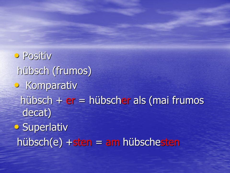 Positiv Positiv hübsch (frumos) hübsch (frumos) Komparativ Komparativ hübsch + er = hübscher als (mai frumos decat) hübsch + er = hübscher als (mai fr