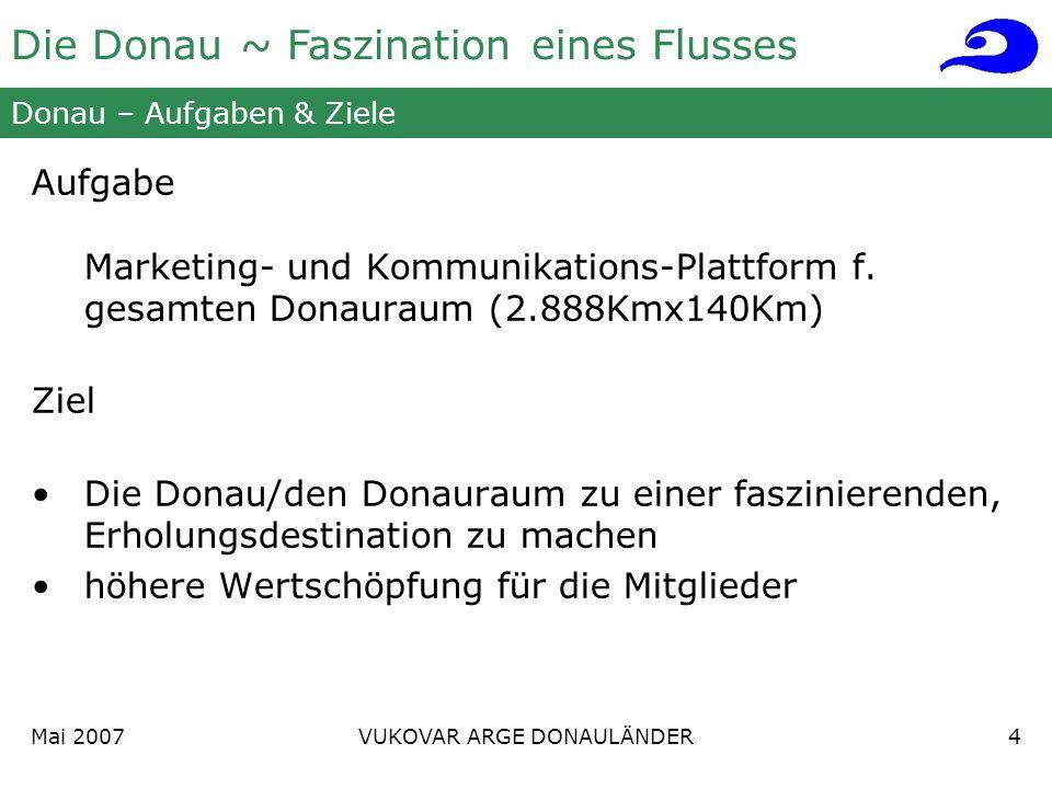 Die Donau ~ Faszination eines Flusses Mai 2007 VUKOVAR ARGE DONAULÄNDER4 Donau – Aufgaben & Ziele Aufgabe Marketing- und Kommunikations-Plattform f.