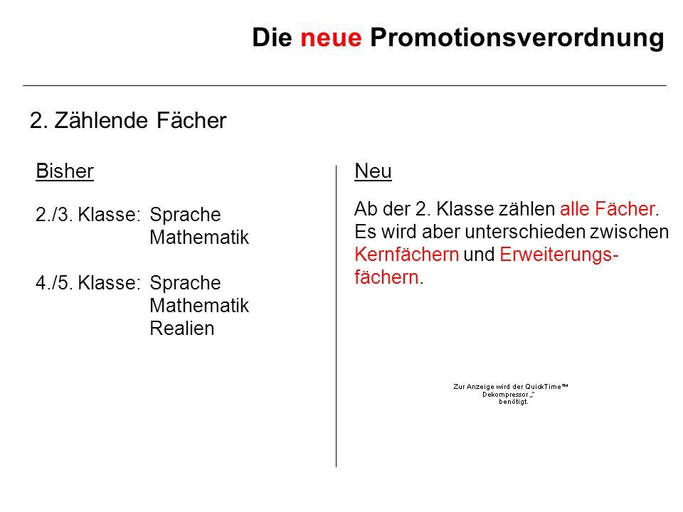 Die neue Promotionsverordnung 2. Zählende Fächer BisherNeu 2./3. Klasse: Ab der 2. Klasse zählen alle Fächer. Sprache Mathematik 4./5. Klasse: Mathema