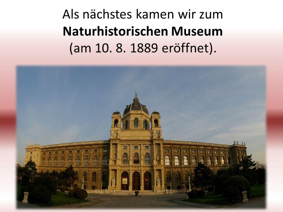 Als nächstes kamen wir zum Naturhistorischen Museum (am 10. 8. 1889 eröffnet).