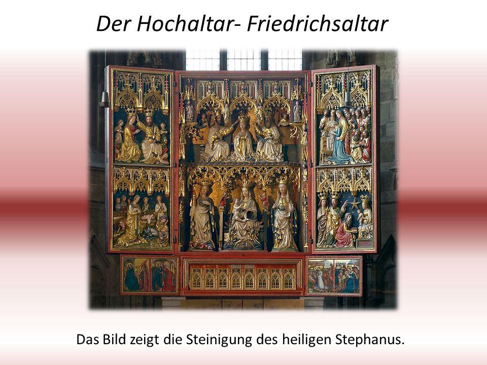 Der Hochaltar- Friedrichsaltar Das Bild zeigt die Steinigung des heiligen Stephanus.