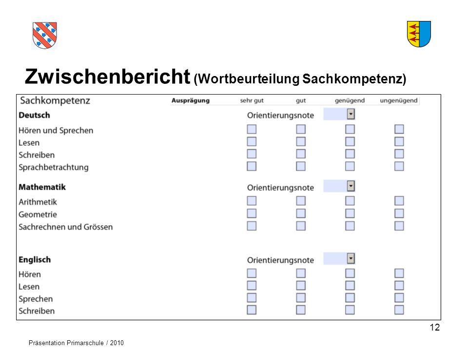 Logo der Schule Präsentation Primarschule / 2010 Zwischenbericht (Wortbeurteilung Sachkompetenz) 12