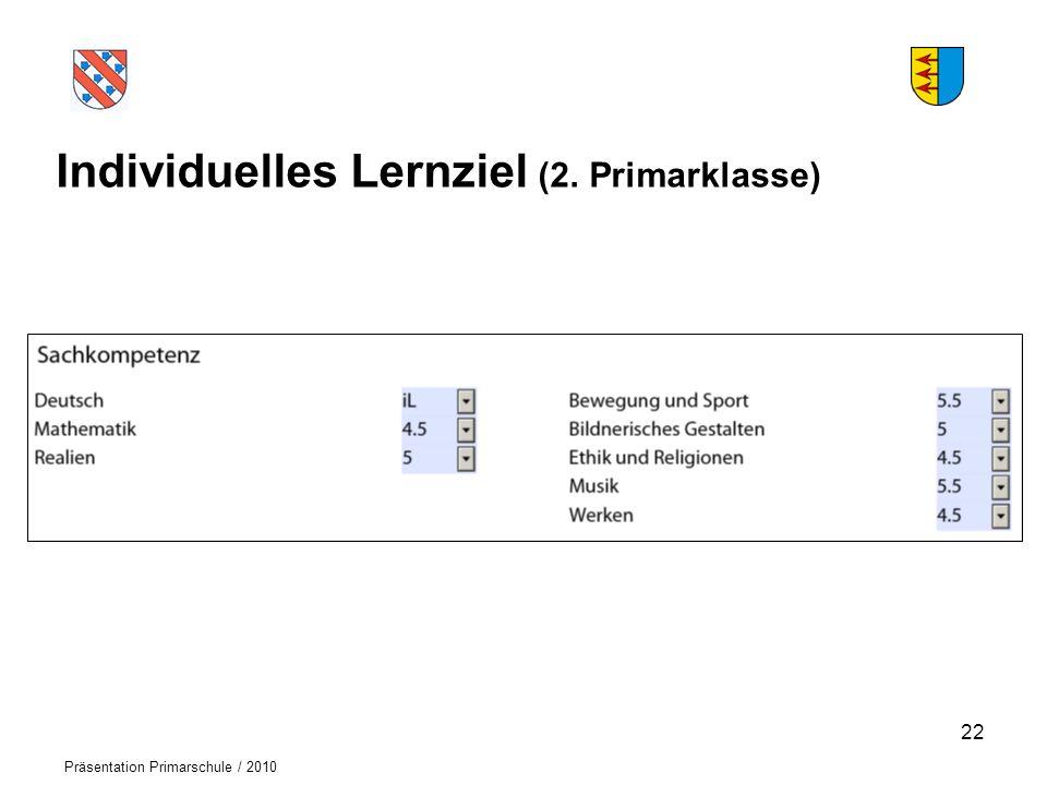 Logo der Schule Präsentation Primarschule / 2010 Individuelles Lernziel (2. Primarklasse) 22