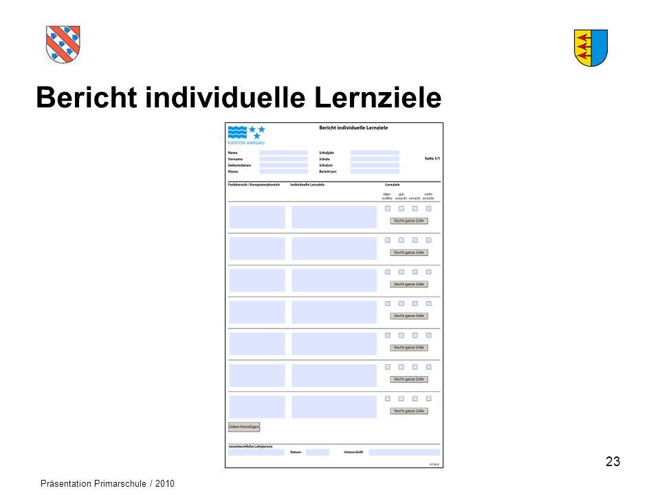 Logo der Schule Präsentation Primarschule / 2010 Bericht individuelle Lernziele 23