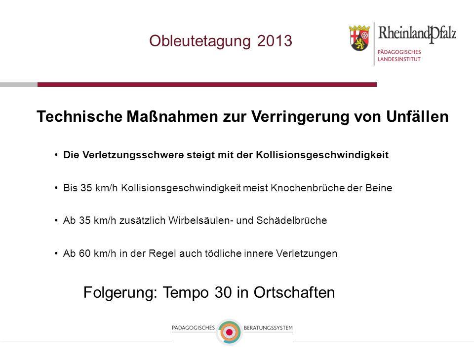 Obleutetagung 2013 Technische Maßnahmen zur Verringerung von Unfällen Folgerung: Tempo 30 in Ortschaften Die Verletzungsschwere steigt mit der Kollisi
