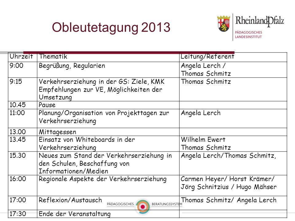 Obleutetagung 2013 UhrzeitThematikLeitung/Referent 9:00Begrüßung, RegularienAngela Lerch / Thomas Schmitz 9:15Verkehrserziehung in der GS: Ziele, KMK