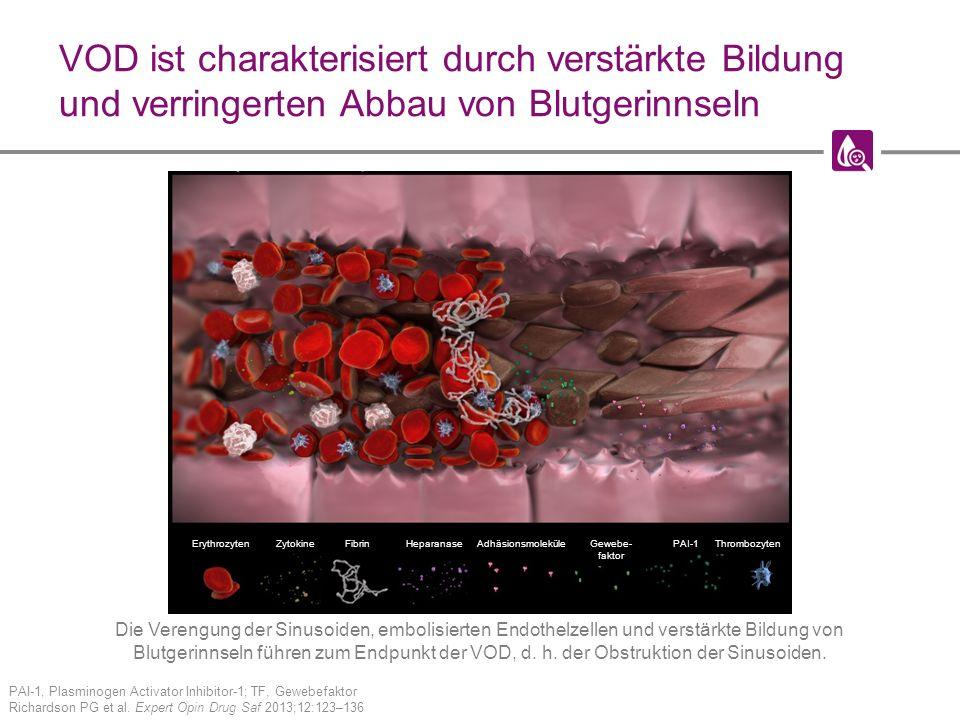 VOD ist charakterisiert durch verstärkte Bildung und verringerten Abbau von Blutgerinnseln PAI-1, Plasminogen Activator Inhibitor-1; TF, Gewebefaktor Richardson PG et al.
