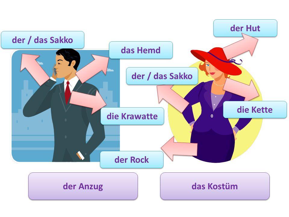 der Anzug das Kostüm der Rock der / das Sakko die Kette das Hemd die Krawatte der / das Sakko der Hut