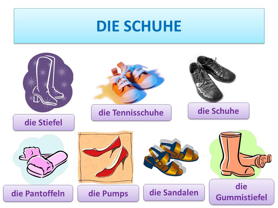DIE SCHUHE die Pumps die Tennisschuhe die Schuhe die Pantoffeln die Stiefel die Sandalen die Gummistiefel