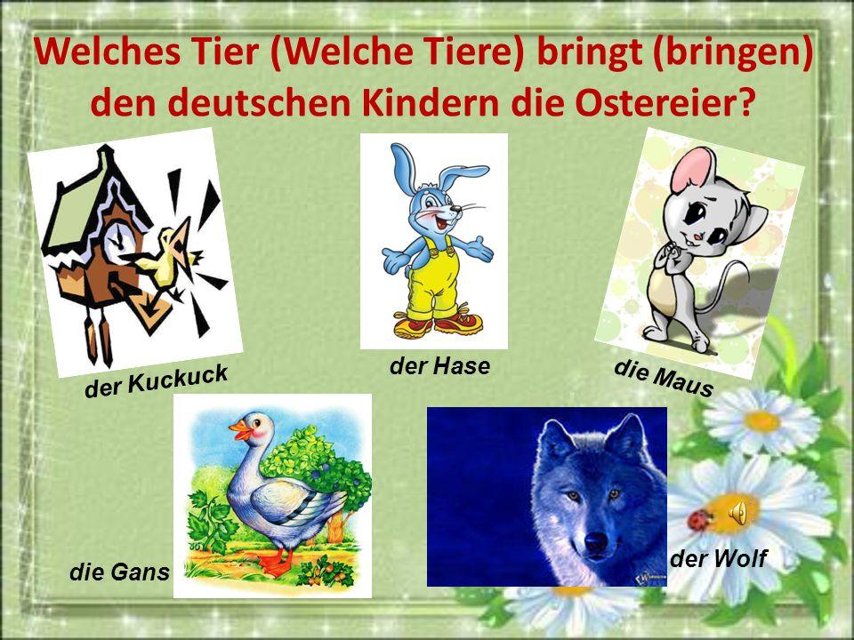 Welches Tier (Welche Tiere) bringt (bringen) den deutschen Kindern die Ostereier? der Kuckuck der Wolf die Maus der Hase die Gans