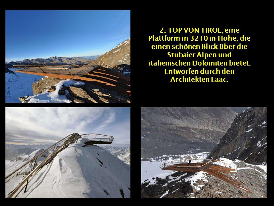 1. STEGASTEIN, eine Plattform in der Form eines V, entworfen von Todd Saunders und Tommie Wilhelmsen im Auerlandfjord in Norwegen und gestaltet. Die 1