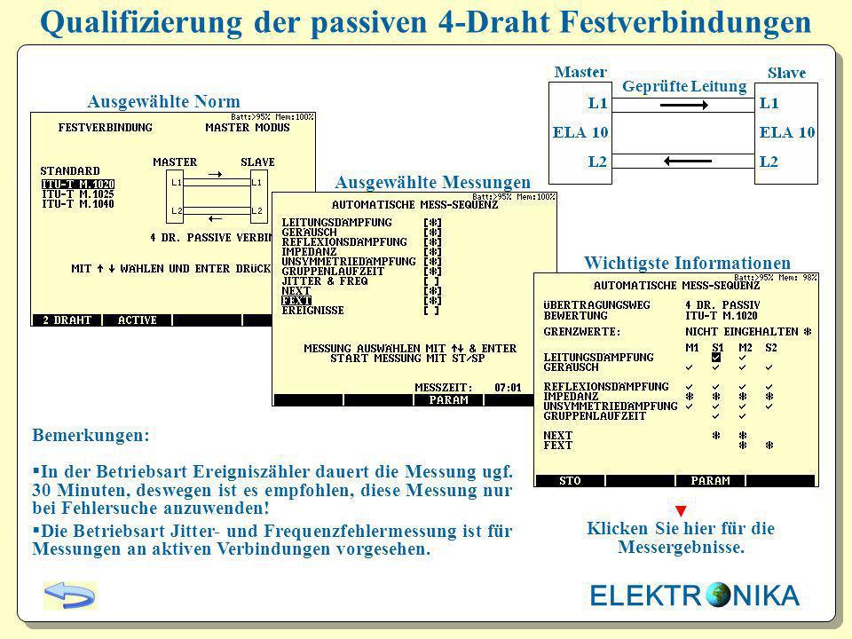 Qualifizierung der aktiven 2-Draht Festverbindungen Ausgewählte Norm Ausgewählte Messungen Wichtigste Informationen Bemerkungen: In der Betriebsart Ereigniszähler dauert die Messung ugf.