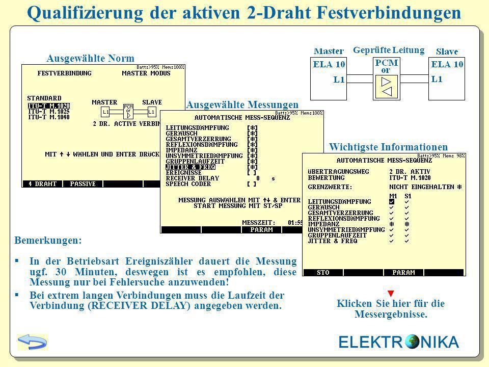 Qualifizierung der aktiven 2-Draht Festverbindungen Ausgewählte Norm Ausgewählte Messungen Wichtigste Informationen Bemerkungen: In der Betriebsart Er